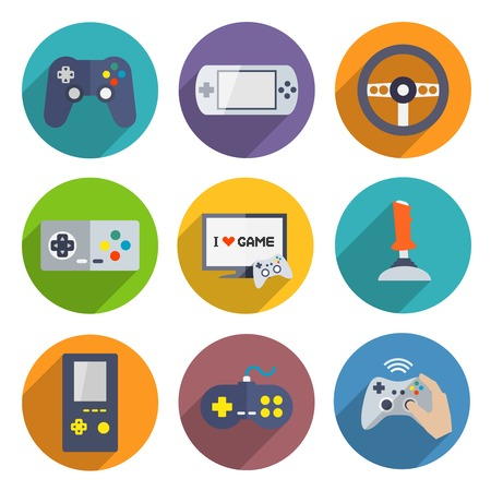 game wheel: Video computer console games controller icons set of joystick keypad steering wheel isolated illustration
