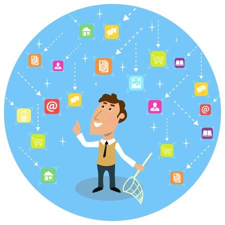 vuxen: Abstrakt vuxen affärsman med sociala nettokommunikationskoncept