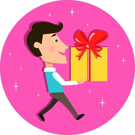 carrying box: Car�cter del hombre joven que lleva caja de regalo presente para la celebraci�n del cumplea�os de eventos