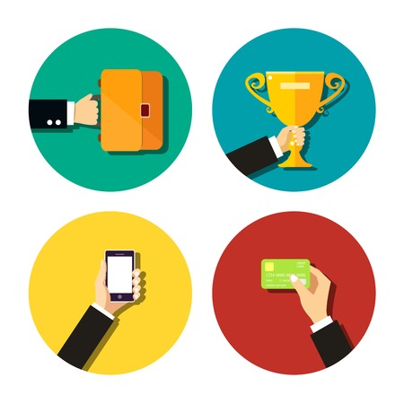 holding credit card: Business hand holding items flat icons set with mobile smartphone trophy cup credit card and briefcase with documents isolated  Illustration