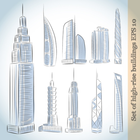 Building Icons Set Of Modern Skyscrapers Isolated Sketch Royalty Free Cliparts Vectors And Stock Illustration Image 27132447