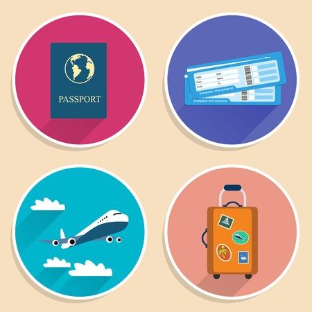 billets d avion: voyage au voyage ic�nes de vacances pr�vues de billets d'avion valise avion et passeport isol� Illustration