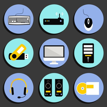 Business computer icons set of workplace desktop with speakers printer and wireless network router isolated  Vector