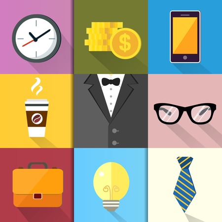 business suit: Business suits, Icons set of coffee glasses lightbulb coins and mobile phone  Illustration
