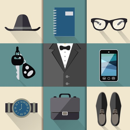 Gentleman business suit web design elements with watches hat glasses shoes and mobile phone folders  Vector