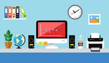 Poste de travail de bureau avec une conception plate de dossiers de papier de haut-parleurs d'ordinateur personnel Banque d'images - 27138819