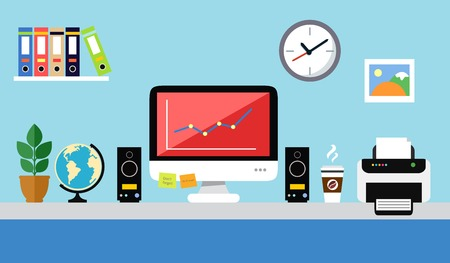 Office workstation with personal computer speakers paper folders printer flat design  Illustration