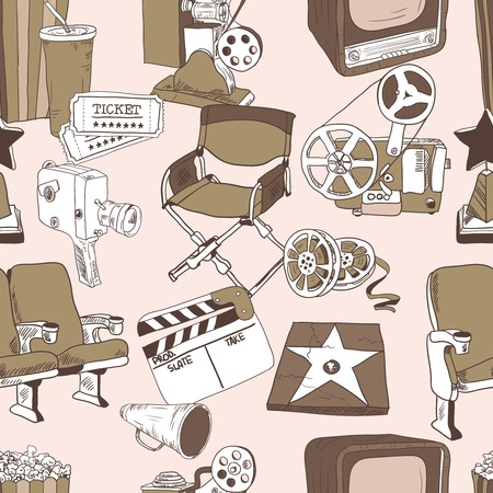film director: Cinema entertainment decorative seamless pattern with camera film projector ticket and director chair design elements