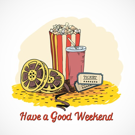 Colored cinema have a good weekend concept with popcorn drink cinema strip tickets doodle elements  Vector