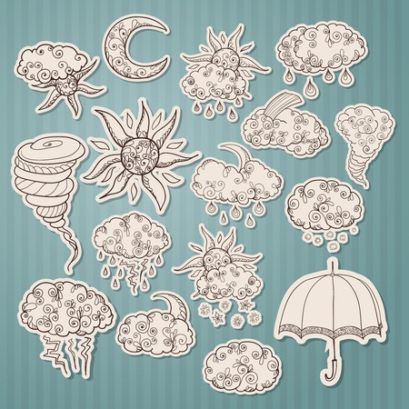 Doodle weather forecast stickers or labels set sketch isolated  Vector