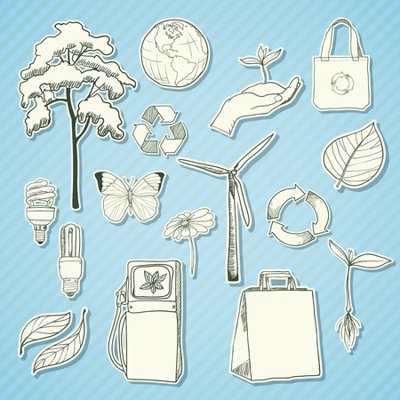Ecology and environment stickers set of tree leaf and hand with sprout isolated  Vector