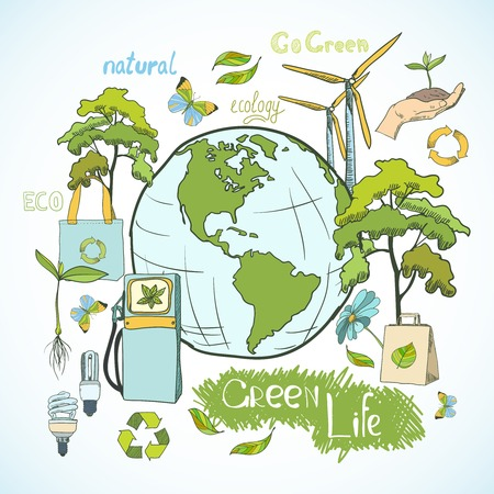 Doodle ecology and environment green life concept with decorative elements  Vector