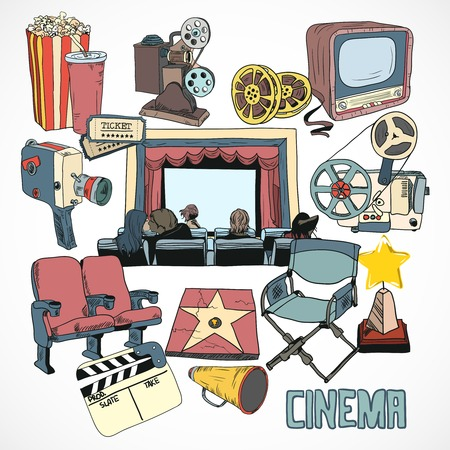 Vintage cinema with retro movie reel projector screen and couple kissing concept poster hand drawn  Vector