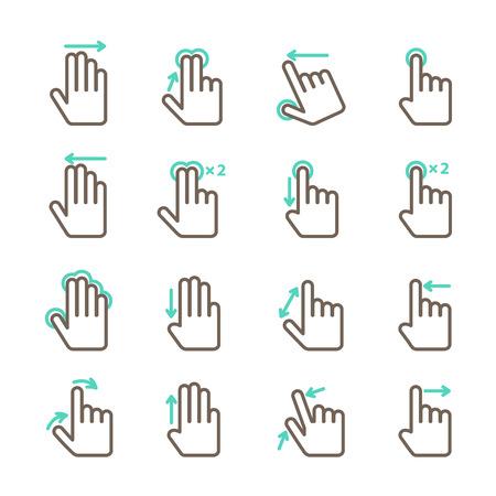 제스처: 격리 된 모바일 응용 프로그램 디자인을위한 설정 터치 스크린 손 제스처 아이콘