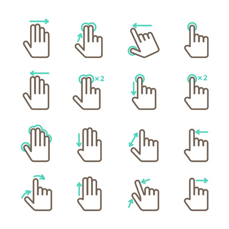 Touch screen hand gestures icons set for mobile application design isolated