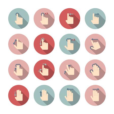 제스처: 터치 스크린 손 제스처 가이드는 격리 된 응용 프로그램 디자인을위한 컬렉션을 그림 문자
