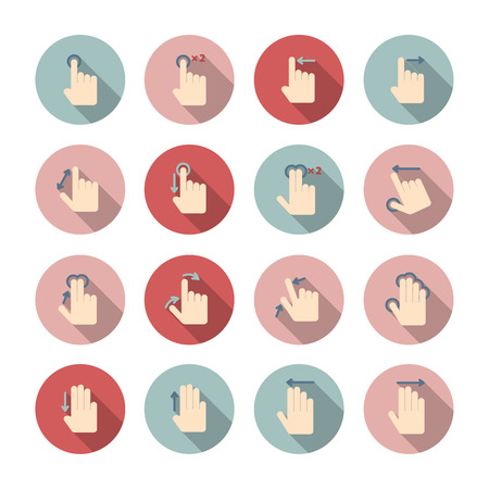 swipe: Touch screen hand gestures guide pictograms collection for application design isolated  Illustration