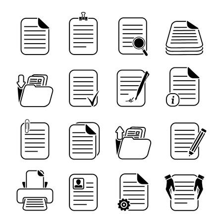 Los documentos en papel y archivos escritos o impresos iconos conjunto aislado