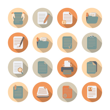 pile of papers: Documents folders and files processing and storage flat icons with shadow set isolated  Illustration
