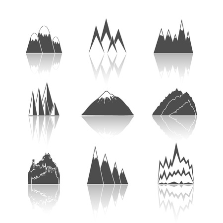 snowy mountains: A collection of snowy mountains peaks outlines pictograms icons set Illustration