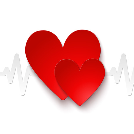 Heart rate red paper emblem icon or print