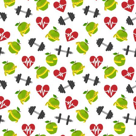 cintas metricas: Aptitud de antecedentes sin fisuras patrón de estilo de vida saludable con barras manzana corazón