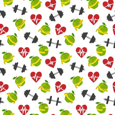 measuring tape: Seamless fitness healthy lifestyle pattern background with heart apple barbells