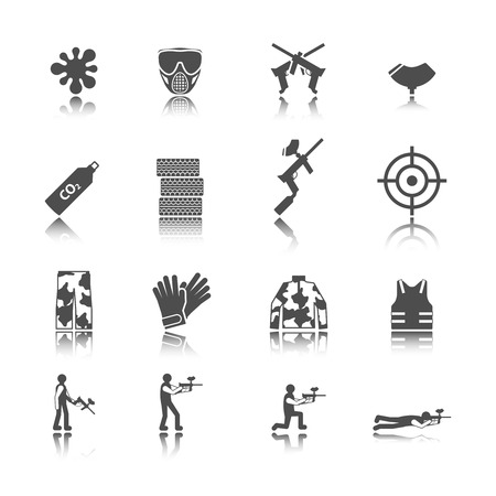 paintball: Paintball outdoor game black stickers icons collection isolated  Illustration