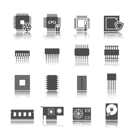 Electronic technology devices computer circuits black icons set isolated  Vector