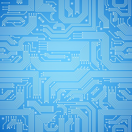 Computer circuit board bright blue seamless pattern  Vector
