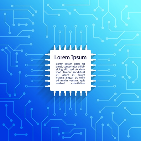 electronic components: Electronic device circuit board bright blue background poster