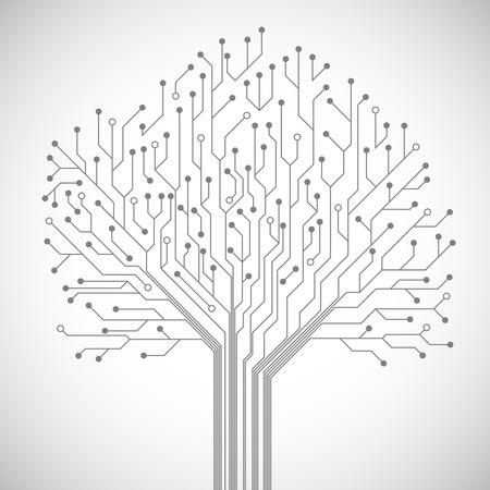 Tecnología informática Resumen placa de circuito integrado símbolo del árbol emblema o póster