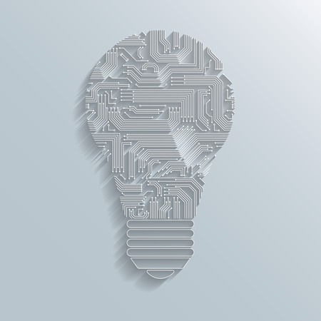 Abstract electronic computer circuit board light bulb icon or emblem isolated  Vector