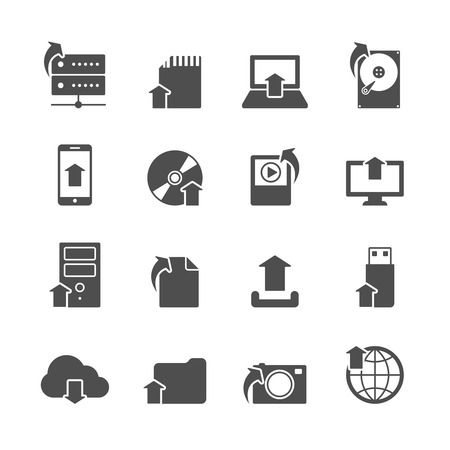 Internet upload symbols collection for computer and mobile electronic devices black icons set isolated  Vector