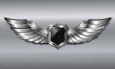 Black metal winged 3d shield emblem Vector