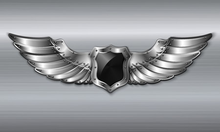 shield with wings: Black metal winged 3d shield emblem Illustration