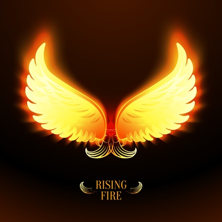 Bright glowing fire angel wings vector illustration
