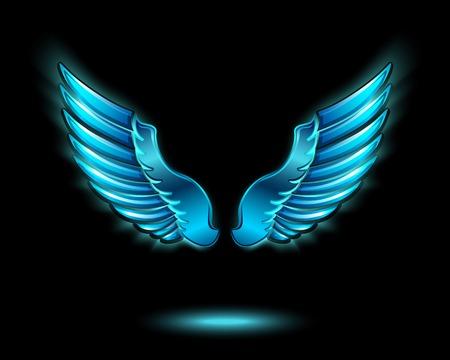 金属の輝きと影シンボル青の輝く天使の翼