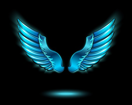 Blue glowing angel wings with metal shine and shadow symbol