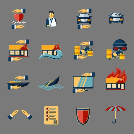 house flood: Insurance security icons set of medical property house protection isolated