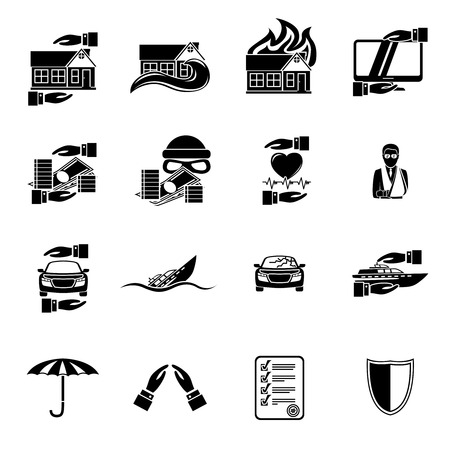 life insurance: Insurance security icons set of healthcare auto car real estate safety isolated  Illustration