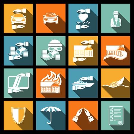 Versicherung Sicherheit Icons Set von Risiko Flut Unfall Katastrophe isoliert
