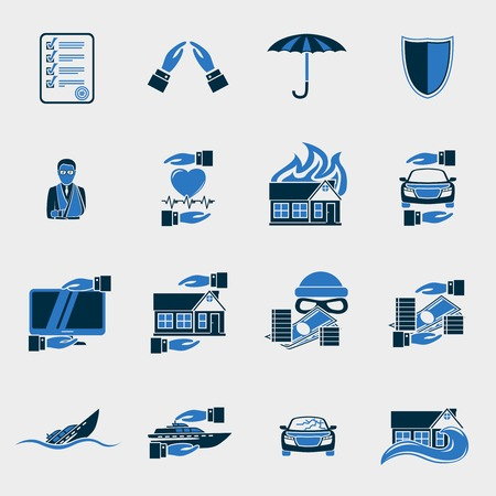 Insurance security icons set of agent company finance  isolated  Vector