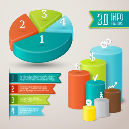 Abstract 3d infographics layout template with pie and bar charts Illustration