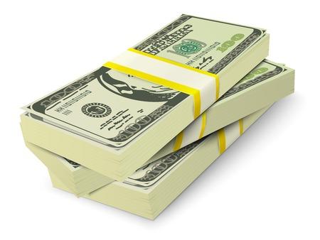 Los billetes en efectivo en dólares 3d realistas pila concepto de dinero