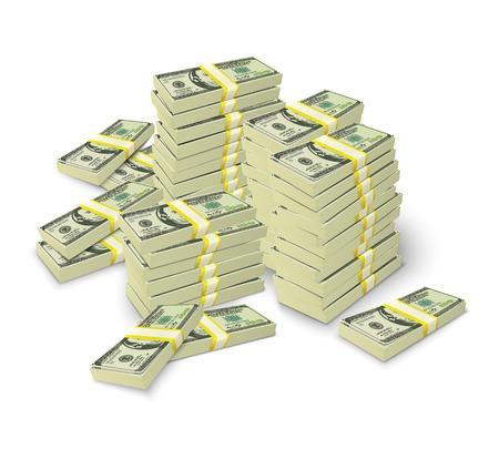 Realistische Geld-Stacks Konzept der 3D-Dollar-Banknoten Haufen
