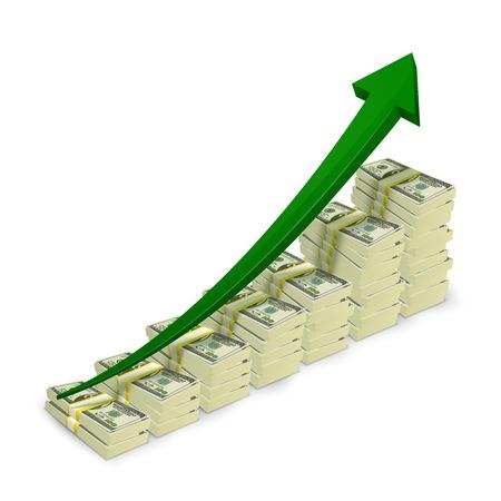 upward graph: Money banknotes stacks rising graph with upward arrow