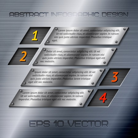 Abstract metal business infographics options layout design with steel silver chrome surface  Vector