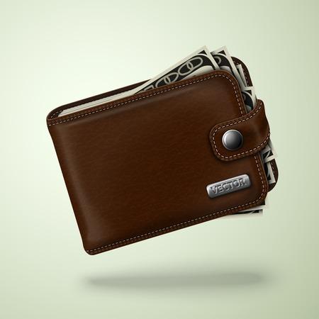 human skin texture: Classico moderno tasca in pelle marrone Portafoglio grasso pieno di banconote in dollari