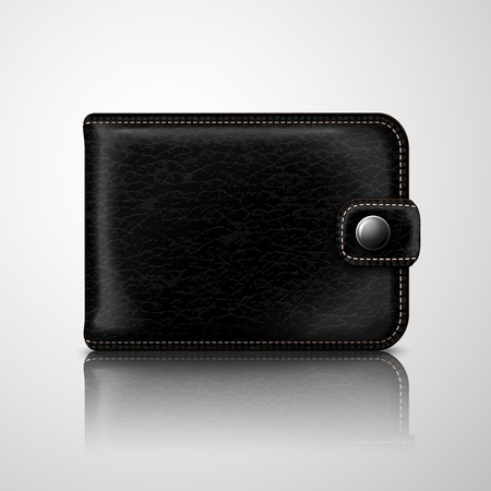 pouch: Classic modern black wallet pouch with leather texture and stitches